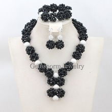 Fashion Black Women s African Jewelry Set Crystal Bridal Bead Sets Gift Necklace Jewelry Set New