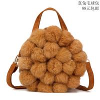 New arrival hot-selling 2015 women's Casual handbag nature rabbit fur bag rivets handbag small messenger bag