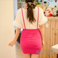 Sweet Woman Skirts Knitwear Skirts With Straps Spring Summer Cute Casual Skirts Free Shipping