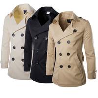 2015 Men Male Fashion British Style Windbreaker Outwear Double-Breasted Slim Casual Coat Jacket Overcoat Size L XL XXL