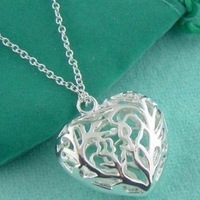 New Hot Korean Women's Gift Wholesale Hollow Love Pendant Necklace 925 Silver jewelry Necklace