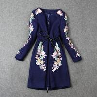 Hot-selling 2014 Autumn High-end Baroque Straight Embroidery Jacket Long Sleeve Woolen Coat Slim Elegant Outerwear 149LJ
