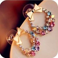 1pcs Free Shipping New Fashion Imitation Diamond Colorful Rhinestone Bow Earrings E41 Vintage Jewelry