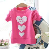 2015 New Free Shipping Spring Children Cute Love Heart Pattern Long Sleeve Sweatshirts Kids Bow Coat Baby Girl Hoddies