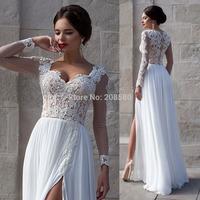 Summer Beach Wedding Dress Chiffon High Slit 2015 White Sexy Lace Long Sleeve Bridal Gowns Appliques W3802