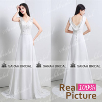 White lace wedding dresses 2015 New arrivals Sexy Deep V-neck A line Chiffon long Bridal Gowns Button vestido de noiva Sashes