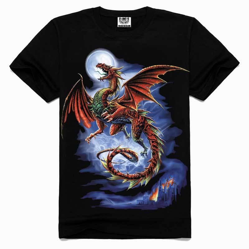 2015 men fashion tshirt,New style Free shipping men cotton t-shirt,Evil dragon 3D printed t shirts for man!16006(China (Mainland))