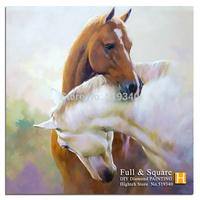 Free shipping diy diamond painting horses with love kits animal cross stitch square diamond rhineston drill full diamond 35x35cm