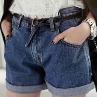 Women New Solid Blue Mid Waist Loose Denim Shorts Korean Fashion Street Vintage Casual Zipper Pocket Feminino Short Jeans