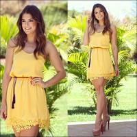 Vestidos Femininos Fashion Casual Mini Tunic Yellow Chiffon Lace Party Gown Tropical Vestido De Festa Summer Chic Women Dresses