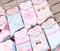 Free Shipping New 2014 Christmas Wool socks women winter rabbit wool socks female towel socks gift sock box 10piece=5pairs