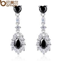 Bamoer Rhodium Plated Drop Earrings with Black Zircon Stone For Women Fashion Dangle Earrings YIE087