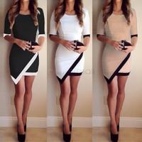 Fashion 2014 New Women Casual Dress Bandage bodycon Half Sleeve Ladies Asymmetric Patchwork Elegant Dresses LL1577