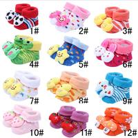 2015 New Newborn baby socks A toddler hosiery for floor antiskid stereoscopic fruit animal series  3 pairs/lot  DD961