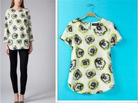 Spring and summer 2015 women's fashion spring summer clothing makes you free shipping short-sleeved chiffon shirt