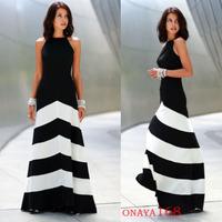 summer woman casual dress women sleeveless dress sexy dresses stripe full dress clothes OL  free shipping