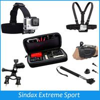 Adjustable Chest Belt Head Strap+M Size Palm Strip+Shockproof Portable Bag+Bike Holder+Monopod For Gopro Hero SJ4000 Accessories