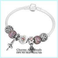 Authentic 925 Sterling Silver Heart Snake Bracelet Antique Dancer Finished Charms Bracelets For Women Best Valentine Gift BC033