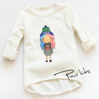 Children's T-shirts Wholesale 2015 Spring Little Girl Printing Long-sleeved o-Neck Cotton Girls T-shirts Free Shipping