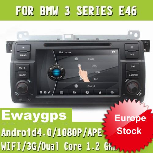 Car DVD Radio Stereo video DVB-T Digital TV Android4.0 GPS Sat Navigation Bluetooth IPOD For BMW E46 Ewaygps EW801BD(China (Mainland))
