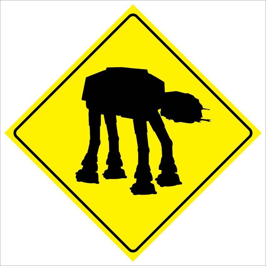Pas199 звездные войны уокер AT-AT пересечения дорожного движения забавный безопасности предупреждение металлический знак 12
