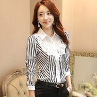 2015 Fashion Office Ladies Elegant Stripe Chiffon Shirt  Princess Style  Slim fit  Chiffon Lace Blouses  OL