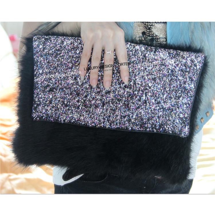 AliExpress.com Product - Luxury Black Glitter Faux Fur Clutch Blingbling women handbag Purse Runway style bag
