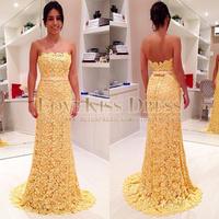 Strapless Off Shoulder Scoop Neck Yellow Lace Dress Long Mermaid Prom Evening Dress Elegant Party Dress Vestido De Renda 2015