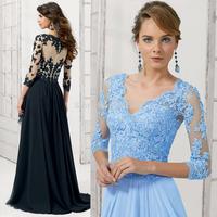 Vestido Festa Madrinha Lace Mother of the Bride Groom Dresses Gowns 3/4 Sleeve 2015 Black Blue V Neck Sheer M2171