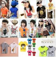 otton 2015 summer children t-shirt child tops tees kids clothes boys blouse girls short sleeve t shirt  cartoon taste
