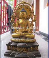 """[wholesale_jewelry_wig ] free shipping 29"""" Huge Tibet Buddhism Temple Bronze Gild Sakyamuni Buddha Statue"""