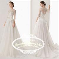 2015 New Elegant Chiffon Wedding Dress Vestidos de Noiva Bridal Gown with Lace Appliques and Sleeves