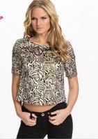 2015 3D T shirt Summer New Design Luxury Three-dimensional Rose Woman T-shirt Back Invisible Zipper Shirt For Women Dropship