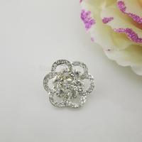 (OY420 20mm)100Pcs Elegant Flower Clear Crystal Shank Rhinestone Button For Sewing Costume Craft