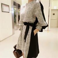 Hotsale Women Winter Warm Dresses Long Sleeves O-neck vestidos femininos Ladies Casual Patchwork Office Dress Plus Size cx852882