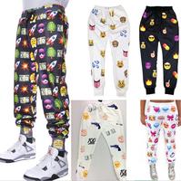 plus size S-XL 2015 New Women's emoji joggers men's jogging pants 3D print emoji fashion gym running sport joggers Harem pants