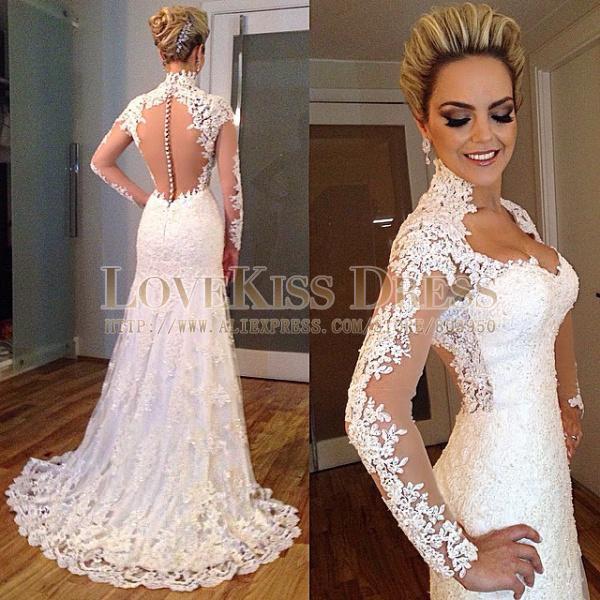 Long Sleeve Lace Fishtail Wedding Dresses