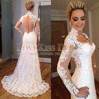 High Neck Lace Appliques Long Sleeves Sheer Back White Lace Wedding Dress Mermaid Long Romantic Wedding Dress Vestido De Noiva