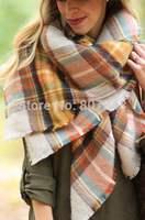 2014Lady Women Blanket Oversized Tartan Scarf Wrap Shawl orange colours Plaid Cozy Checked Pashmina autumn winter spring scarf