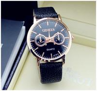2015 Hot Sale Casual Fashion Luxury brand Gold Watch leather strap Men's Watches Sports Quartz Wristwatches men gift
