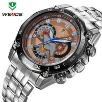 Luxury Brand WEIDE Military Watches Men Full stainless steel Watch Luminous analog Quartz 30m Waterproof Retro Winner Gift Clock