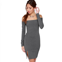 2015 New Womens Dresses Slash Neck Off The Shoulder Sexy Dress Knitted Bodycon Long Sleeve Mini Women Dress Plus Size Dresses