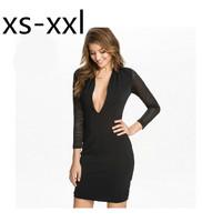 XS-XXL-XXL Spring And Summer New Dress Of Women Black Sexy Deep V-neck Thread Gauze Patchwork Slim Female One-piece Dress
