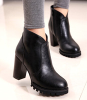 Side zipper leisure vintage style ankle boots sexy black red fashion chunky martin boots size 39 free shipping