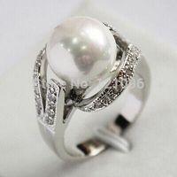 Pretty 18KGP 12MM White Shell Pearl Women' s Ring size 6-10+11