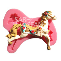 M0630 Carrousel Merry-go-round horse fondant cake molds soap chocolate mould for the kitchen baking cake tool