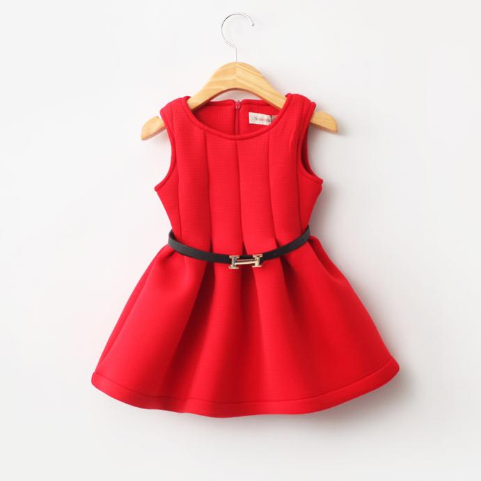 2015 new girls vest dress belt girls dress pretty cute kids fashion