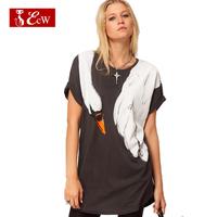 ECW New Fashion 2015 Cotton Casual Women T shirt Animal Print Loose Fashion T shirt Long Style Women Top