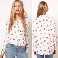 Women Button Down OL Shirt Blouse New Collared Chiffon Long Sleeve Kiss Printed Free Shipping