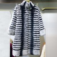 Hot Selling Chinchilla Rex Rabbit  Fur Striped Pattern Genuine Rabbit Fur Women Outwear Coats Plus 6XL Size